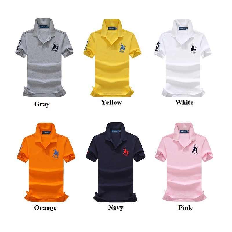 Camisa polo masculina 100% algodão marca bordado golfe topos casuais de alta qualidade sólido manga curta polos eur tamanho S-2XL; ga200