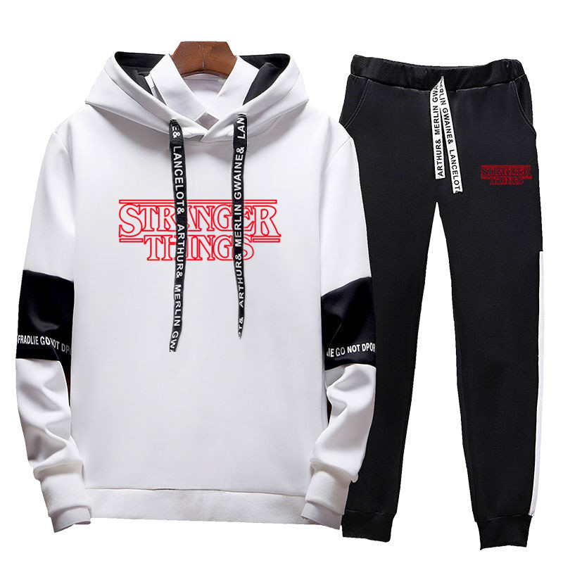 New Brand Stranger Men Sets Fashion Autumn Winter Patchwork Jacket Sporting Suit Hoodies + Sweatpants Slim Tracksuit Clothes