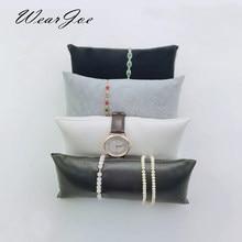 Atacado jóias grandes travesseiros exibir almofada para pulseira caixa de relógio preto branco cinza veludo/plutônio pulseira travesseiro titular vitrine