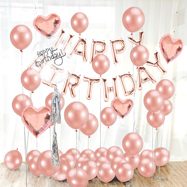 16inch Happy Birthday Foil Balloons Banner Sweet 16 Party Decorations Baby Kids Adult Boy Girl My First 1st One Year Supplies