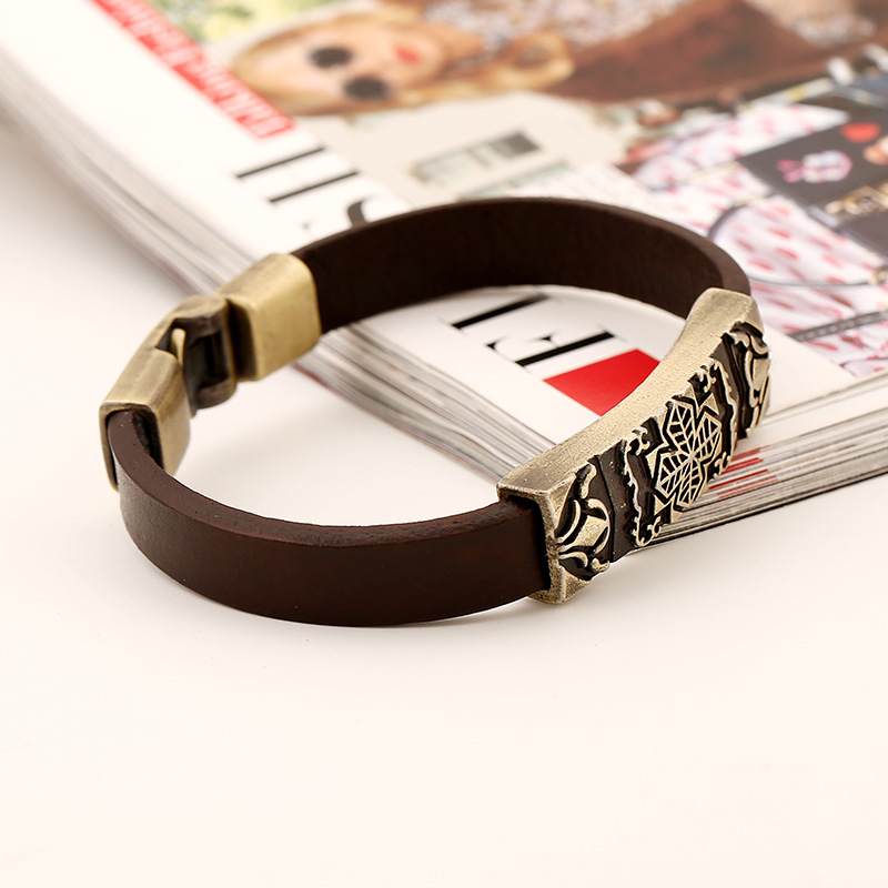 Hf58c8d0661a344ed9512b358e9e12878f - Vintage Retro Cross Brown Genuine Leather Cuff Bracelet Wristbands Metal Bronze Charm Bangle Wrap Women Men Punk Fashion Jewelry