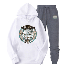 The 2019 new hoodie suit color tiger head picture printing tide brand cotton hip hop outfit