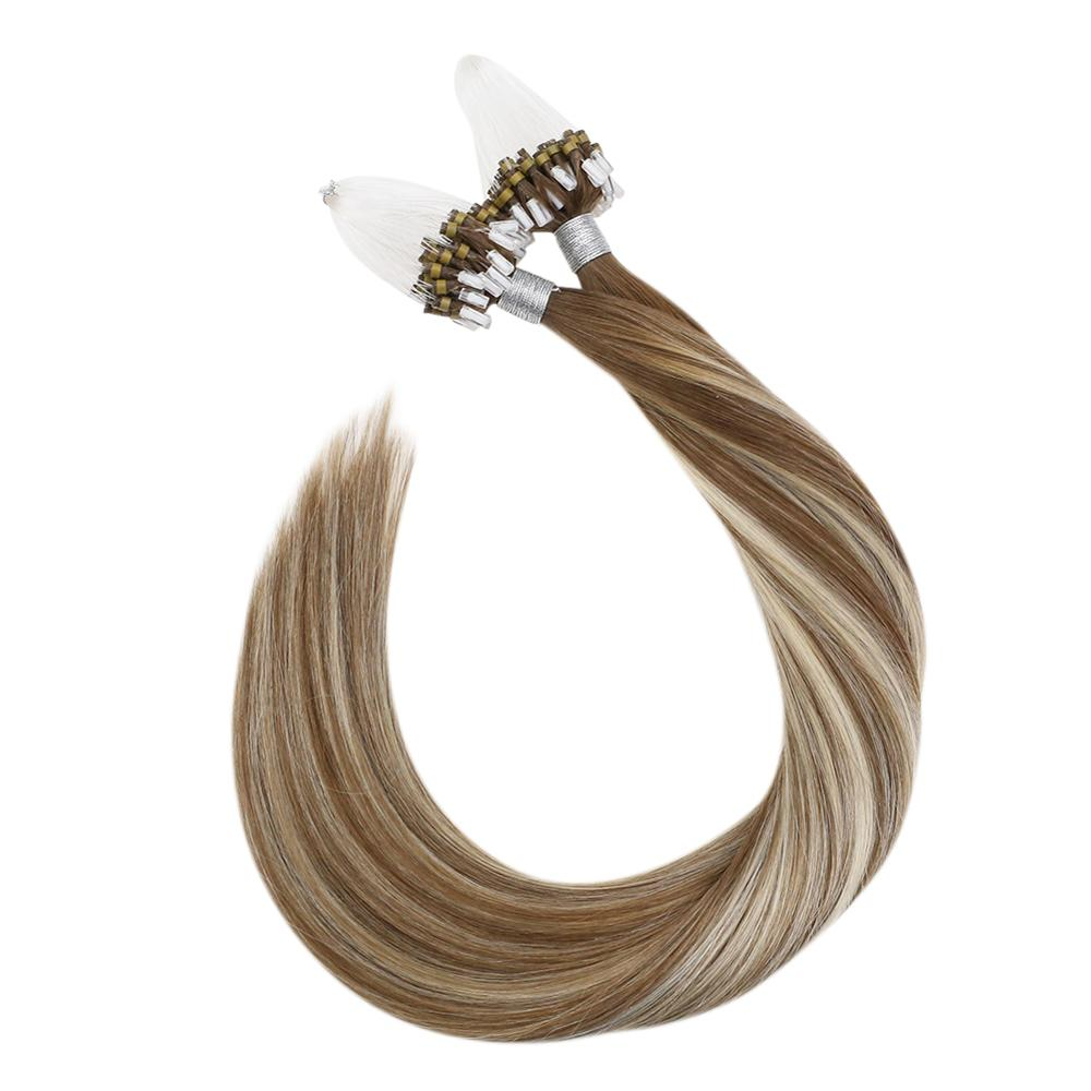 Ugeat Micro Loop Human Hair Extensions 9A/60/9A Full Balayage Machine Remy Hair 14-24inch 50g/100g Micro Ring Hair Extensions
