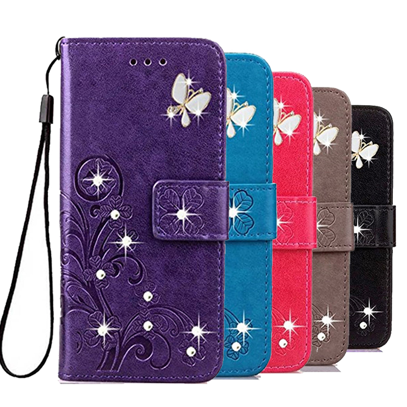 Rhinestone Wallet Coque <font><b>Case</b></font> for <font><b>Sony</b></font> Xperia X Performance Z1 Compact Mini Z2 Z3 Plus <font><b>Z4</b></font> Z5 Premium PU Leather Diamond Cover image
