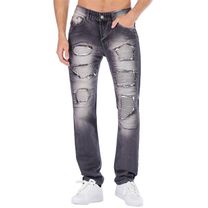 2019 nouveau déchiré Jeans hommes trou Locomotive style européen marée hommes pantalons droite décontracté mode 5 couleurs Jeans hommes grande taille 42