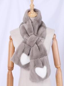 Fur Scarf Mink-Fur Heart-Shaped Grey Winter Full-Pelt Women's Luxury Genuine Wraps Fashion