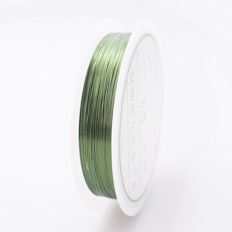 Четырехслойный разноцветный комбинезон серебро Медный провод для браслет Цепочки и ожерелья самодельные Украшения, Аксессуары 0,2/0,25/0,3/0,5/0,6/1,0 мм ремесло Бисер провода HK018 - Цвет: Green