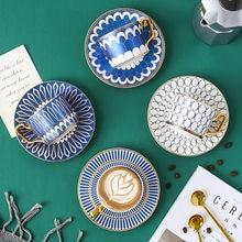Ensemble de luxe tasse à café et soucoupe Style britannique, Style marocain, avec manche en or, tasse à thé de l'après-midi en céramique, 250ml