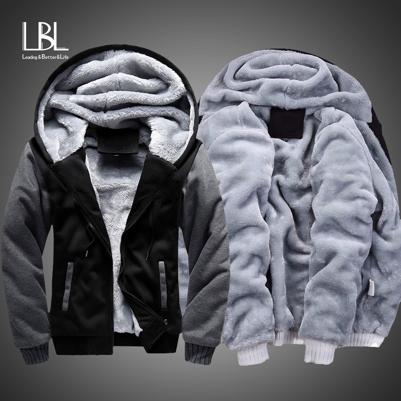 Winter Thick Hoodies Men Zipper Hooded Coat Brand Mens Tracksuit Sweatshirt Patchwork Jackets Warm US/EUR Plus Size Fleece Hoody