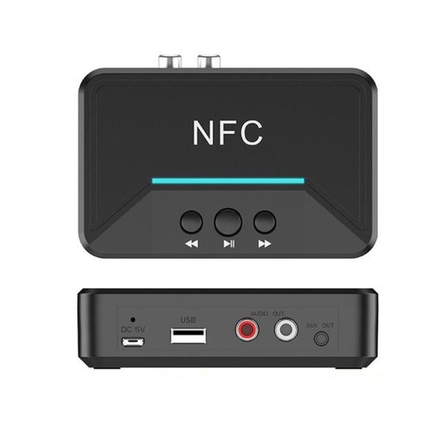 Bluetooth 5.0 מקלט מתאם NFC 3.5mm RCA אודיו AUX פלט אלחוטי Bluetooth Dongle סטריאו קולט עבור מגבר רמקול