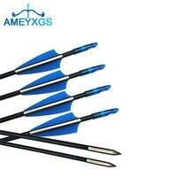 24 pçs tiro com arco e flecha de fibra de vidro setas 31 polegada espinha 900 alvo dicas de seta fixa para arco e flecha caça tiro acessórios