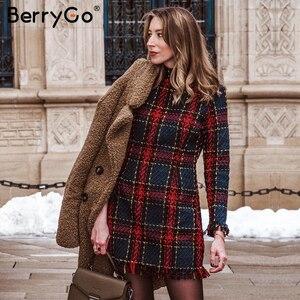 Image 2 - BerryGo Elegante Büro dame plaid winter kleid 2018 langarm stehen kragen dicke warme quaste kleid Mode dünne weibliche vestido