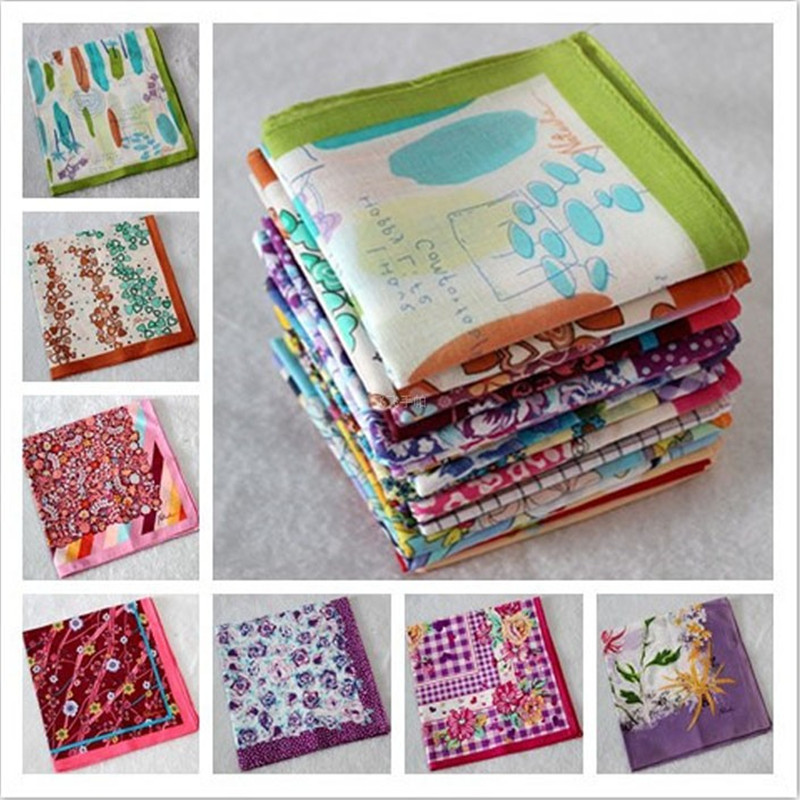 Ladies Printed Handkerchief Cotton Handkerchief 40 * 40CM 5Pcs/Lot