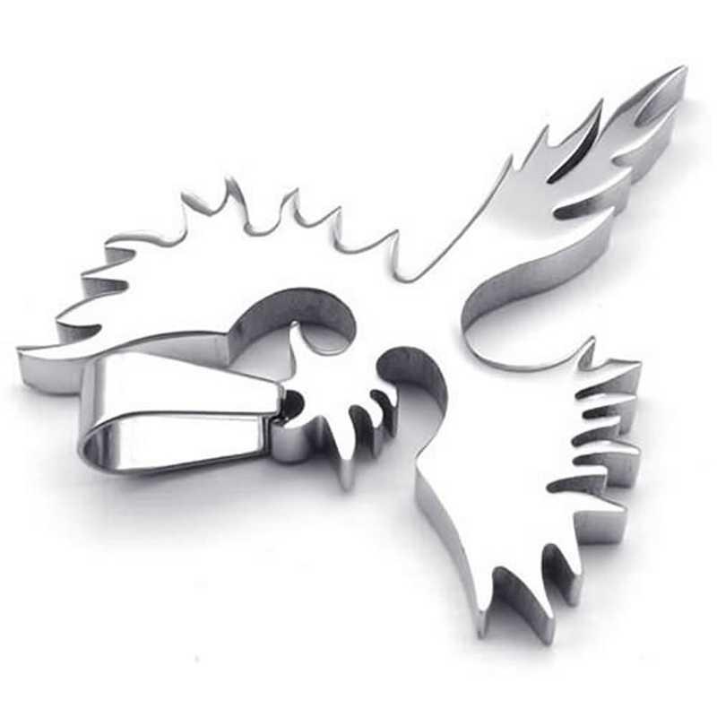 תכשיטי נירוסטה פניקס תליון עם 50cm שרשרת, שרשרת לגברים נשים, כסף