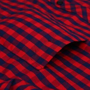 Image 4 - Camicia A Scacchi Plaid degli uomini di vacanza Casual Giovanile Singola Tasca Manica Lunga Standard fit Sottile Comodo di Cotone Camicette