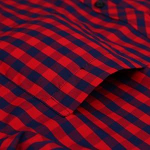 Image 4 - Vacances chemise à carreaux pour jeunes hommes, en coton, à carreaux, à poches simples à Patch, à manches longues, à ajustement Standard, décontracté