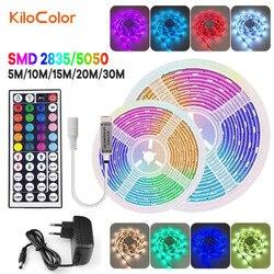 Led luces de tira RGB SMD 5050 2835 luz Led remota 12V cinta Flexible decoración para pared dormitorio de la UE nos UK AU enchufe