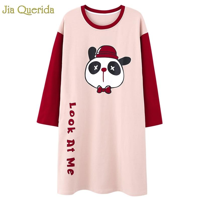 Ladies   Nightgowns   &  sleepshirts   Cotton Night Dress Women Sleepwear Long Sleeve Pleasurements Lingerie Cartoon Panda Printing Gown