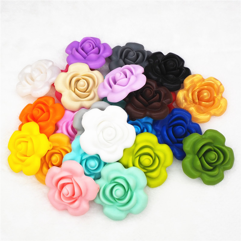 Chenkai 100pcs Silicone Rose Flower Teether Beads DIY Handmade Baby Pacifier Dummy Chewing Jewelry Pendant Sensory Toy