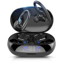 Tws bluetooth fones de ouvido com microfones esporte gancho da orelha display led sem fio fones alta fidelidade estéreo fones à prova dwaterproof água