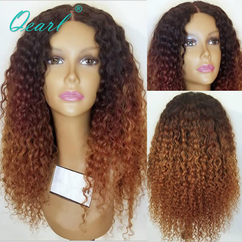 Kinky Curly Wig Ombre Colored Lace Front Human Hair Wigs Natural Hairline Deep Part Malaysian Remy Hair 13x4/13x6 Glueless Qearl
