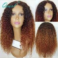 Peluca rizada de pelo humano de encaje de color Ombre pelucas de cabello Natural parte profunda pelo Remy malayo 13x4 /13x6 qearn sin pegamento