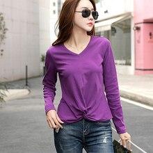 shintimes Poleras Mujer De Moda 2019 V-Neck T Shirt Women Long Sleeve Tshirt Female Korean Clothes Autumn Cotton Tee Femme