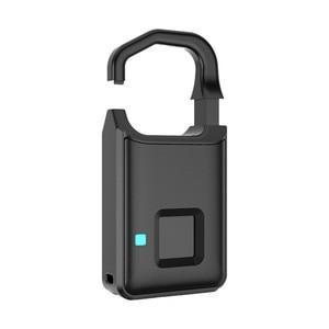 Image 4 - Big Promotion Fingerprint Lock USB Rechargeable Keyless Anti Theft Padlock Suitcase Door Lock Burglar Alarm Security Free Ship