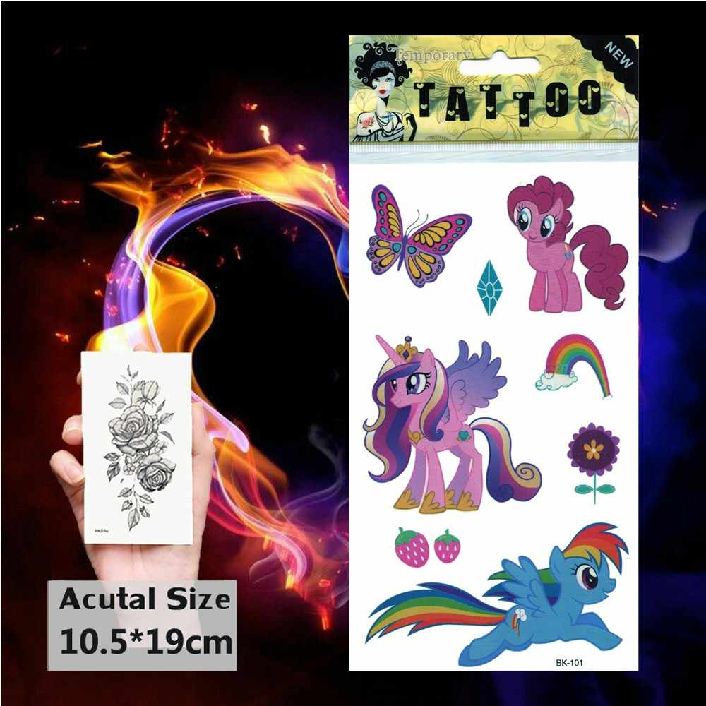 Cartoon Cute Little Pony Temporary Tattoos Body Art Flash Tattoo Sticker Butterfly Unicorn Waterproof Tatoo for Children Kids