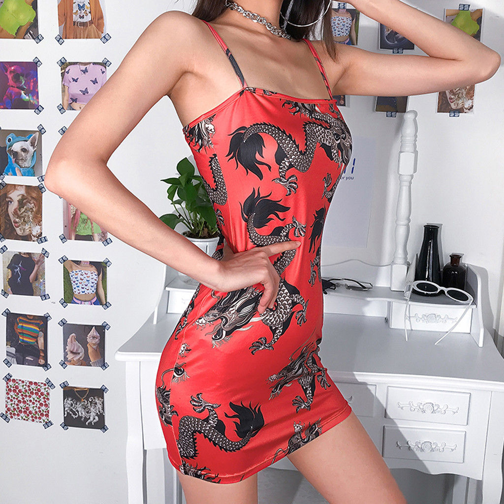 Hf58d9a8e8d714469b7213d59b019a615e Harajuku Summer women's girls dress Fashion Women Sexy Off Shoulder Dragon Print Strap Casual Night-club Mini party Dress 2019