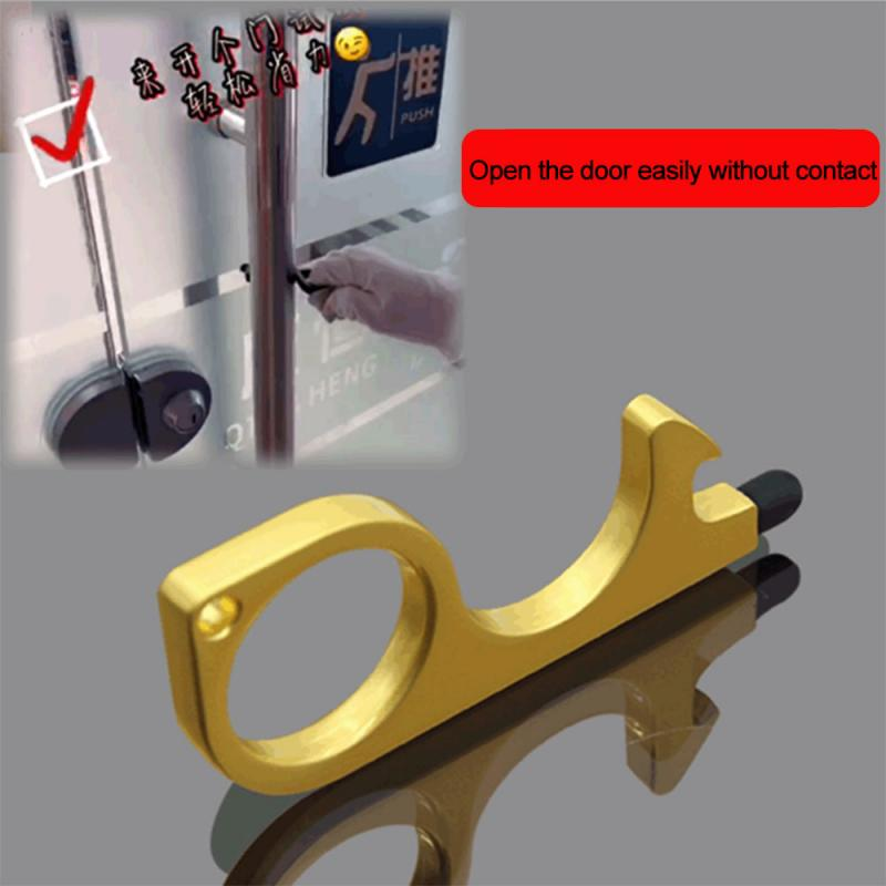 Family Health Convenient Portable Alloy Elevator Tool Hygiene Hand Antimicrobial Brass EDC Door Opener Can Use To Be Beer Opener