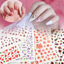 new 1 Sheet 3D Fcolorful flowers Nail Art Stickers  mix shape for Nails Sticker Decorations Manicure Z0207