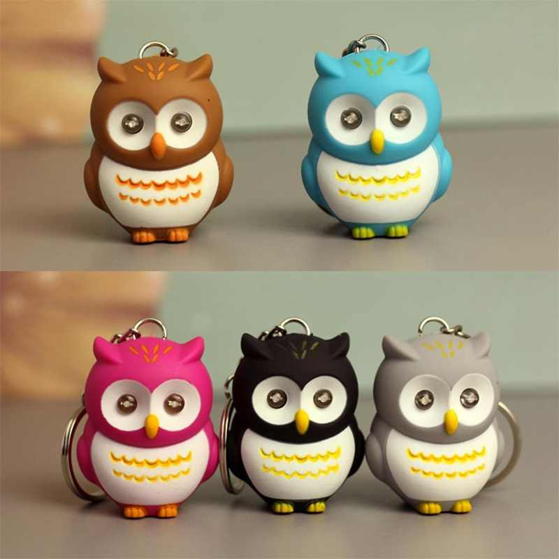 Cute Cartoon Mini Owl Keychain LED Light Sound Keyfob Kids Toy Gift Creative Key Bag Pendants Key Rings