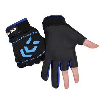 1 Paar Angelhandschuhe für Männer und Frauen Anti-Rutsch-Angeln im Freien mit 3 geschnittenen Fingern Angelausrüstung Angel-SBR-Handschuhe