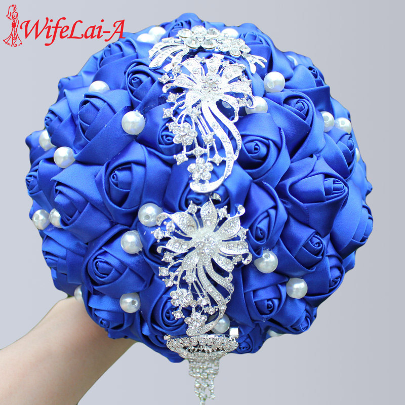WifeLai-A Wedding Flowers Bride Bouquet Satin Ribbon Holding Flowers Tassels Diamond Royal Blue Bridesmaid Wedding Bouquets W229