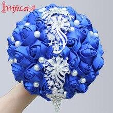 WifeLai-A Wedding Flowers Bride Bouquet Satin Ribbon Holding Tassels Diamond Royal Blue Bridesmaid Bouquets W229
