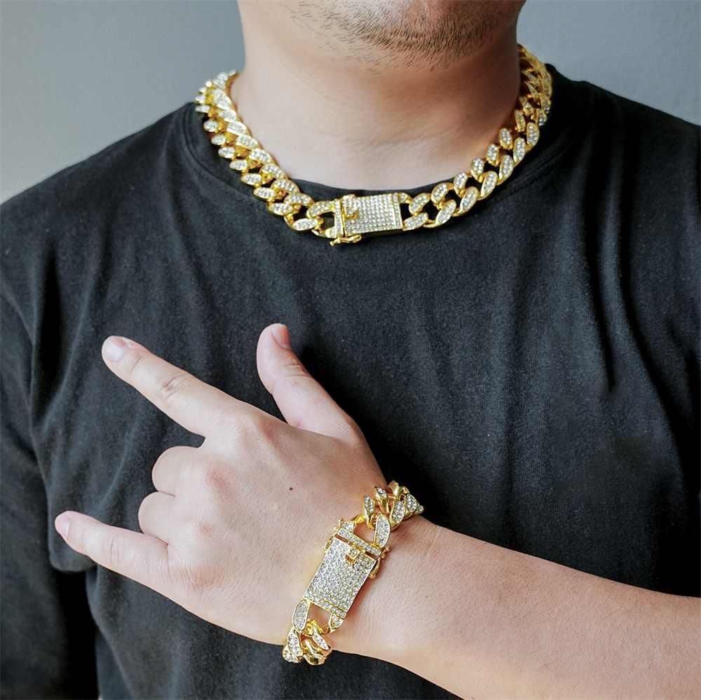 2cm mężczyźni Hip Hop Iced Out łańcuchy złoty kolor srebrny Iced Out kryształki górskie zapięcie Miami kubański Link Chain naszyjniki bransoletka