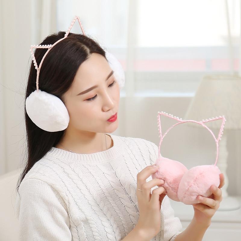 Lovely Rhinestone Cat Ears Plush Earmuffs Winter Faux Fur Ear Warmers Ear Muffs Winter Comfortable Ear Protector For Women Girls