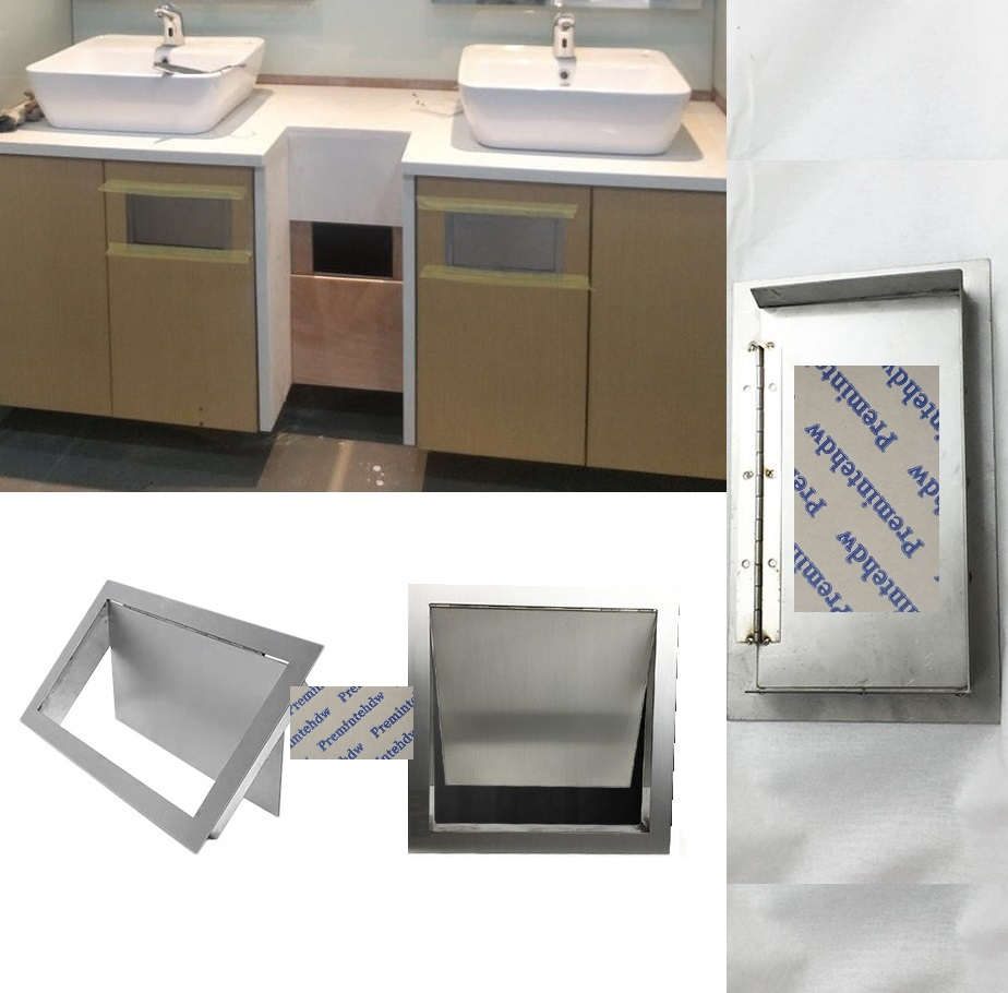304 Stainless Steel Wall Side Mounted Kitchen Bath Cabinet Flush Built-in Hinged Flap Cover Trash Bin Garbage Chute