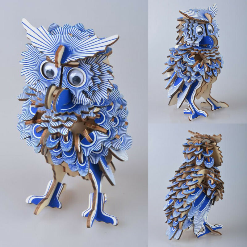 ><font><b>DIY</b></font> 3D Assembled Laser Cutting Wooden Owl Puzzle Game Gift for Children Kid <font><b>Model</b></font> Building Animal Kit Popular <font><b>Toy</b></font>