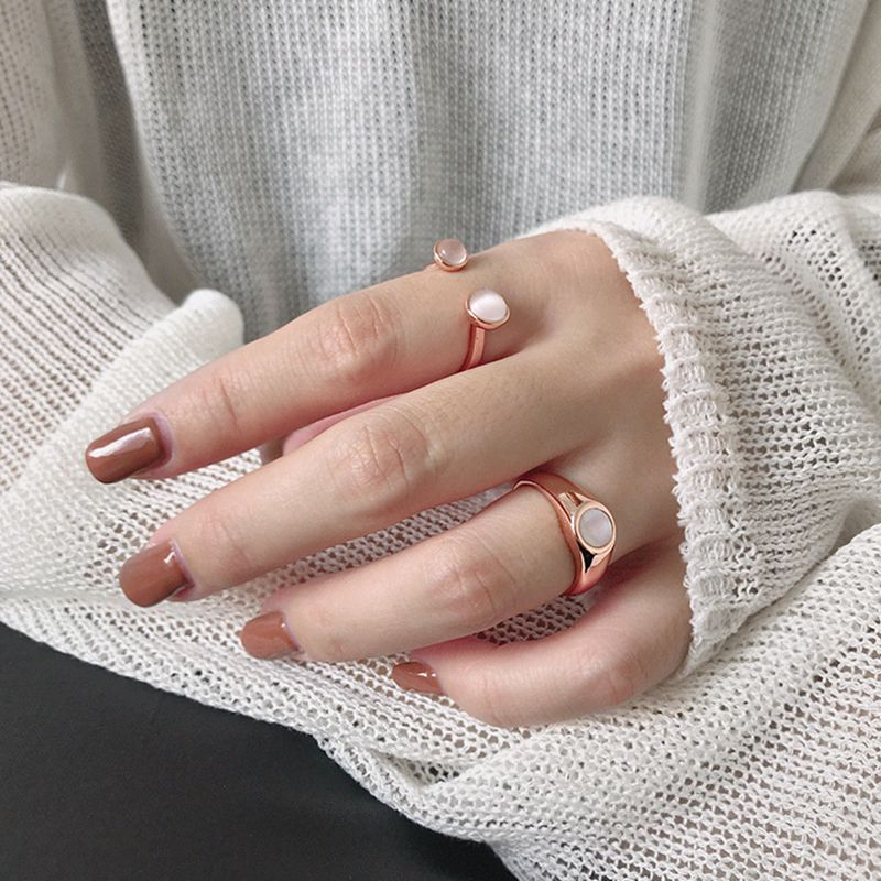 Silvology 925 Sterling Silver Shell Opal Cat Eye Stone Rings Rose Gold Round Romantic Rings For Women 2019 Girls Jewelry Charm