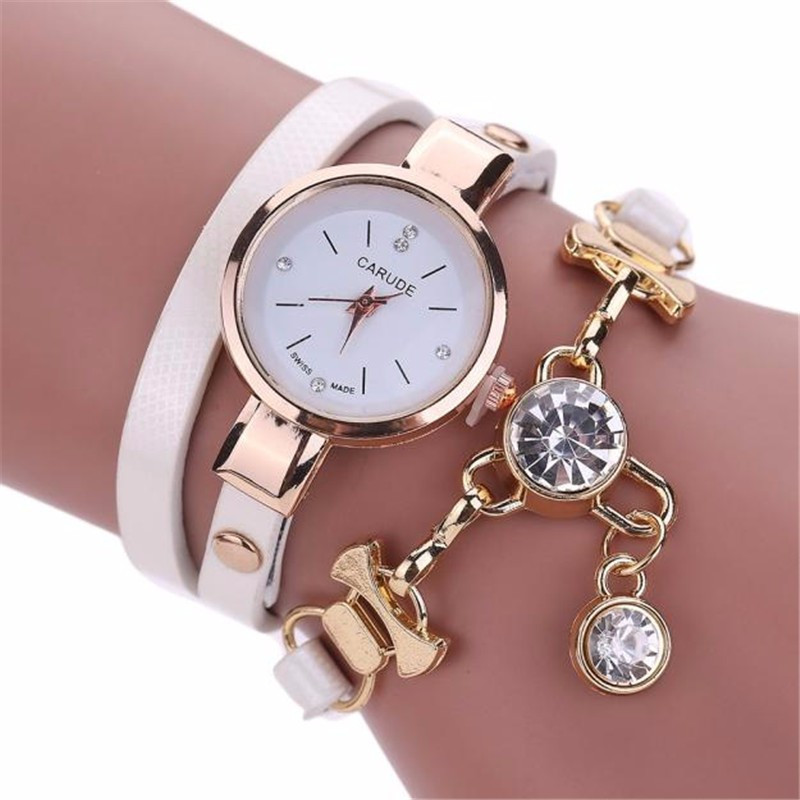 Women Watch Leather Casual Clock Luxury Quartz Crystal Womens Wristwatch Ladies Wrist Watch