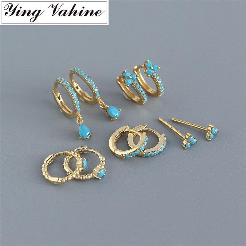 Ying Vahine-boucles doreilles en argent Sterling 100% 925, petit cercle en Zircon bleu, pour femmes