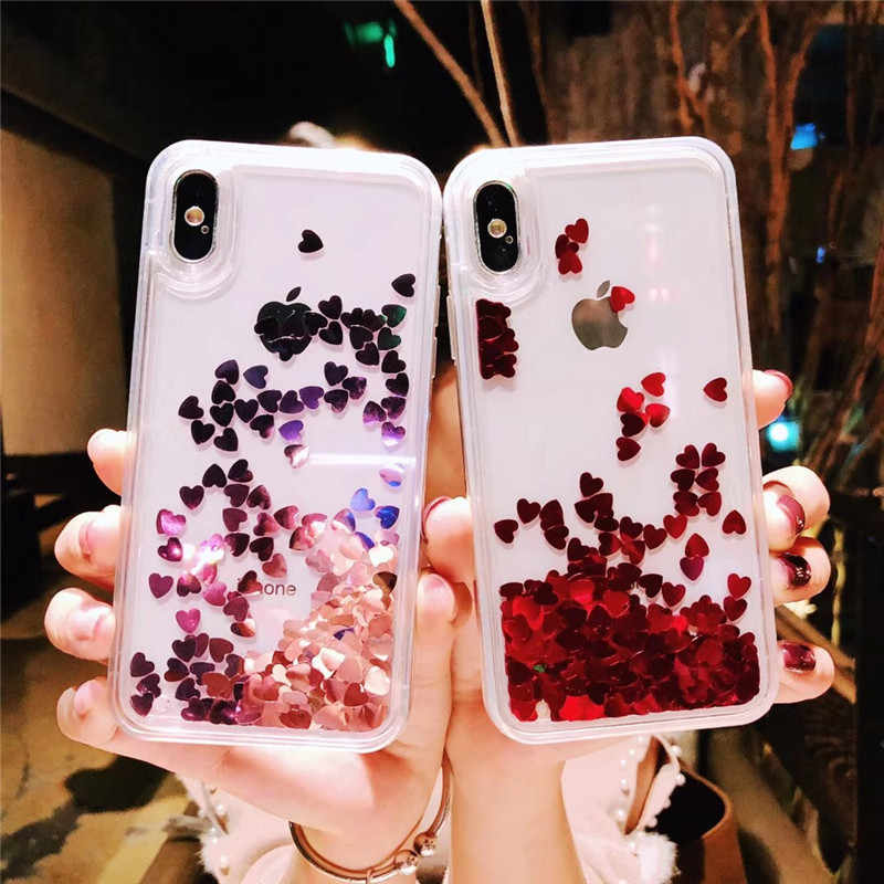 Brillo líquido de Glitter. Arenas Movedizas amor corazón estrella suave TPU funda para iPhone 6 iPhone 6 6s 7 7 Plus Bling cubierta para Apple X XS X XR XSMax