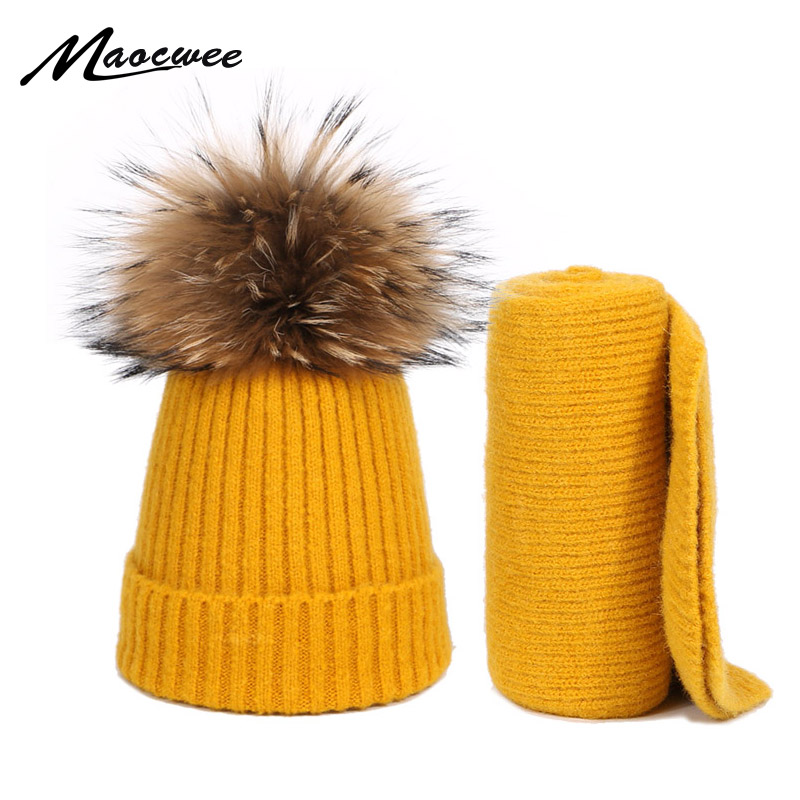 Baby Winter Real Fur Pompon Hat And Scarf Tow-piece Set Knitting Warm Outdoor Thick Windproof Children Pure Color Hat Scarf Set