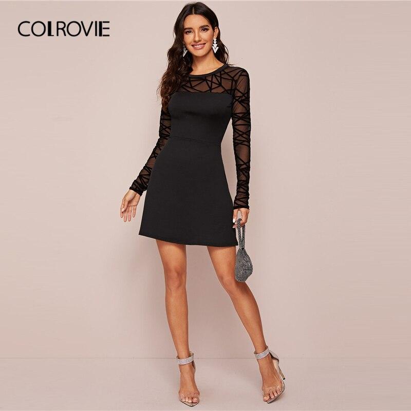 COLROVIE Black Sheer Contrast Mesh Solid Dress Women A Line Mini Dress 2020 New Spring Long Sleeve Ladies Elegant Dresses 4