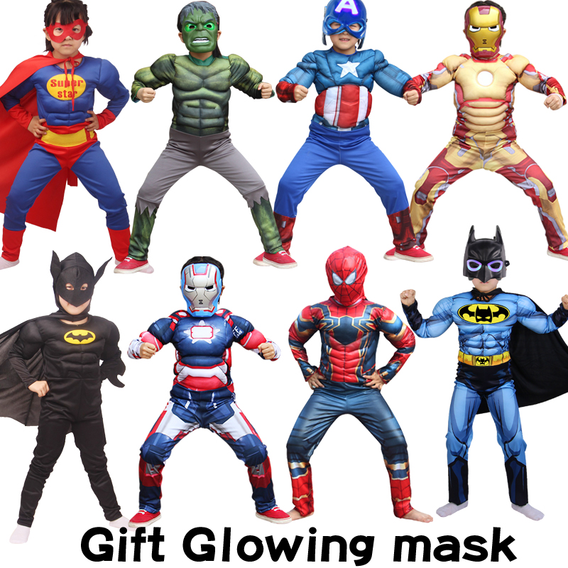 Christmas Carnival Party Costume Super Hero Clothes Jumpsuit Superman Batman Hulk Thor Muscle Cosplay Costumes Halloween Gift