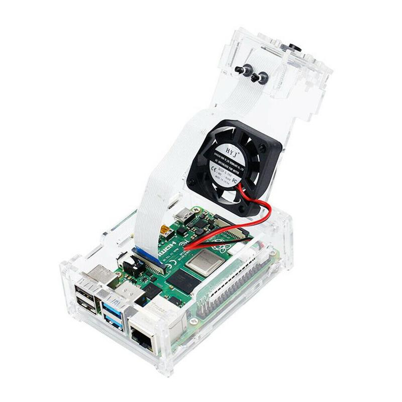 For Raspberry Pi 4 Clear Acrylic Case Enclosure Box With Cooling Fan Heat Sink Dropshipping