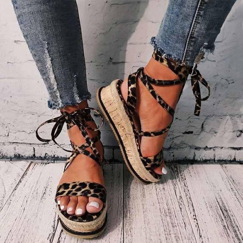 Yaz kadın yılan sandalet platformu topuklu çapraz askı ayak bileği dantel Peep Toe 2020 moda plaj parti bayanlar ayakkabı Zapatos De mujer
