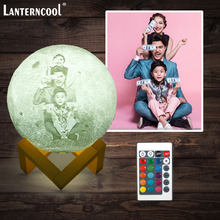 Photo/Text Custom 3D Printing Moon Lamp Night Light Customized Personalized Lunar USB Rechargeable Lamp Remote Switch DIY Lanter